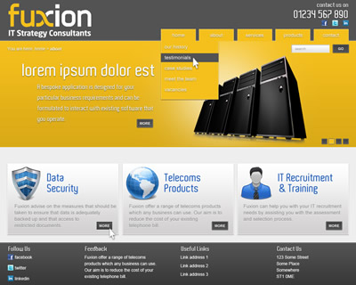Fuxion homepage design